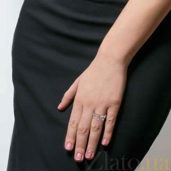 Серебряное кольцо Корона с золотой вставкой и фианитами AQA--Г0381К