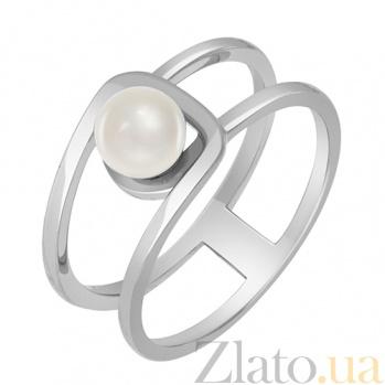 Кольцо из белого золота Мириам с жемчугом 000032764