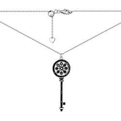 Серебряное колье Ключ с цирконием 000140386