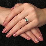 Серебряное кольцо Линара с изумрудом и фианитами