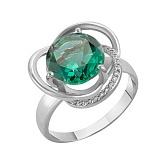 Кольцо в белом золоте Кристина с синтезированным зелёным кварцем и фианитами 000031841 в ювелирном гипермаркете Злато