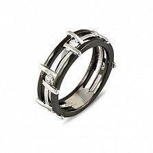 Обручальное кольцо Модерн из белого золота с черным и белым родием и бриллиантами