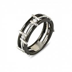 Золотое обручальное кольцо в комбинированном цвете с бриллиантами 000038596