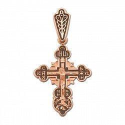 Крестик из красного золота с чернением 000134159