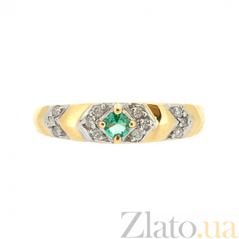 Золотое кольцо в жёлтом цвете с изумрудом и бриллиантами Джуанита ZMX--RE-9026y_K