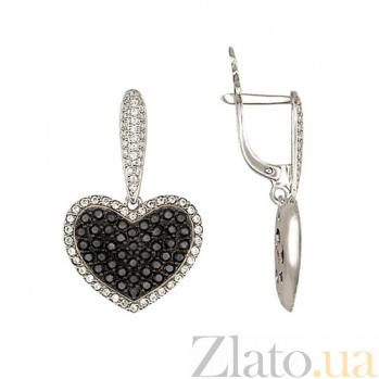 Серьги-подвески из белого золота Сердце Амура VLT--Т257
