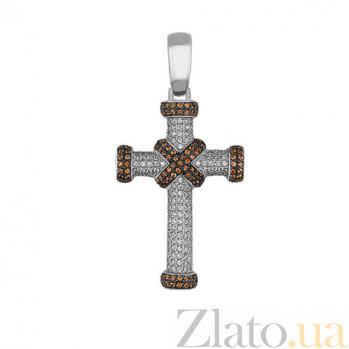 Крестик из белого золота Спаситель с фианитами VLT--ТТ3324