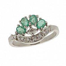 Серебряное кольцо с цирконием и изумрудами Гармония