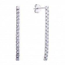 Серебряные пуссеты-подвески Белые дорожки с фианитами
