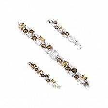 Серебряный браслет Шахматка с раухтопазом, белыми и коньячными фианитами