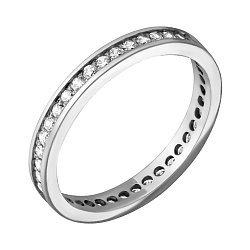 Обручальное кольцо из белого золота с фианитами и родированием 000000241