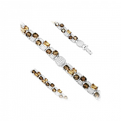 Серебряный браслет с раухтопазом, белыми и коньячными фианитами 000082056