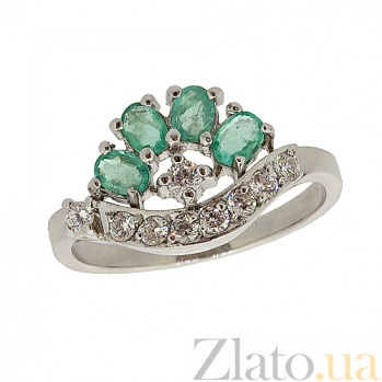 Серебряное кольцо с цирконием и изумрудами Гармония ZMX--RCzE-6403-Ag_K