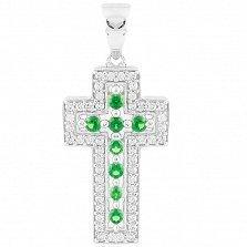 Серебряный крестик Карла с синтезированным изумрудом и фианитами