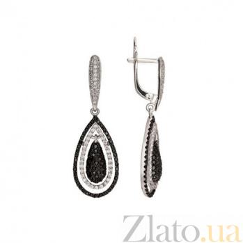 Серьги из белого золота с черным и белым цирконием Зарина VLT--ТТ258
