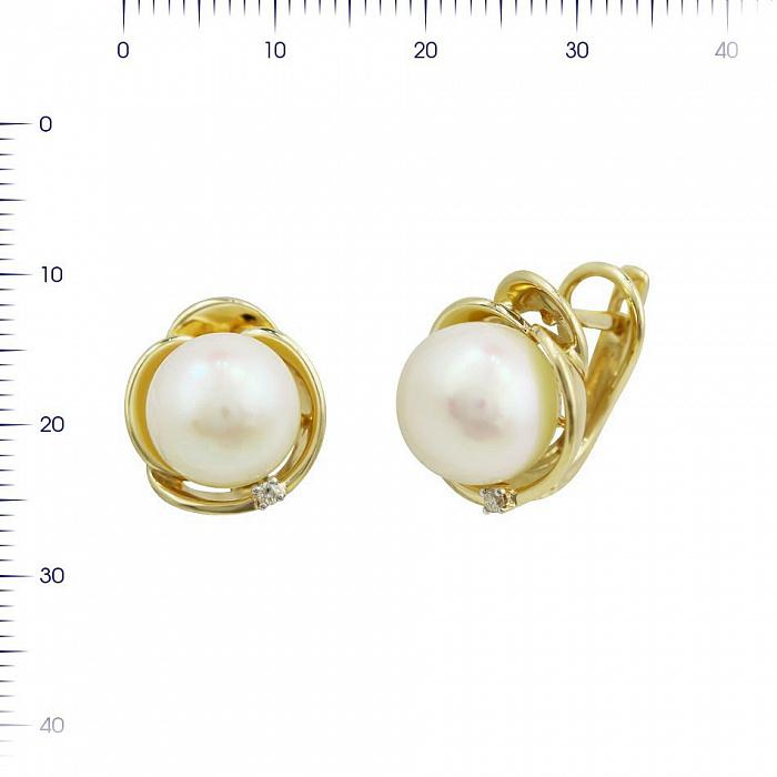 Серьги из желтого золота Дамиана с жемчугом и бриллиантом 000081204
