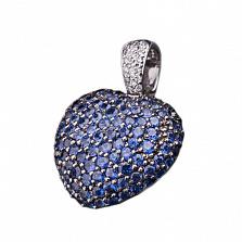 Кулон Сердце с усыпкой сапфиров и бриллиантов