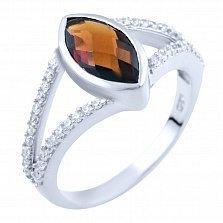 Серебряное кольцо Нателла с гранатом и фианитами