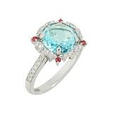 Золотое кольцо с топазом, бриллиантами и рубинами Феодора