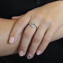 Серебряное разомкнутое кольцо Стрела Амура с цирконием