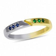 Кольцо Двойная удача в белом и желтом золоте с синтезированными сапфирами и изумрудами