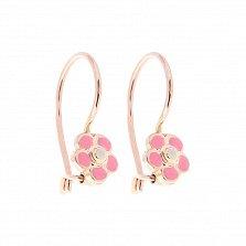 Золотые серьги Весенние цветочки с розовой эмалью