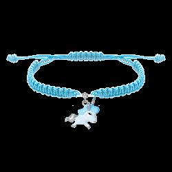 Детский плетеный браслет Единорог с эмалью и фианитом, 10-20см