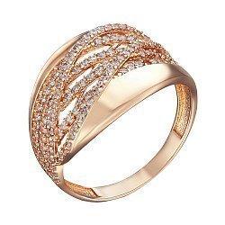 Кольцо в красном золоте с фианитами 000079563