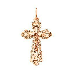 Узорный крестик из красного золота 000130760