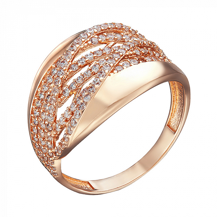 Кольцо в красном золоте Каролина с фианитами 000079563