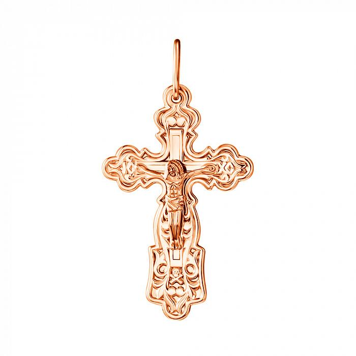 Узорный крестик из красного золота 000130760 000130760