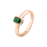 Золотое кольцо Елизавета с изумрудом и бриллиантами