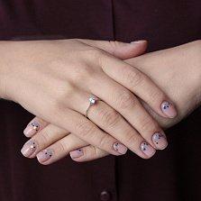 Золотое кольцо с кристаллом Swarovski Знак любви