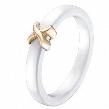 Кольцо в желтом золоте Исида с белой керамикой
