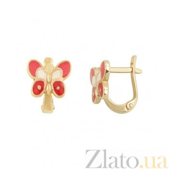 Золотые серьги с эмалью Мотыльки 2С220-0430