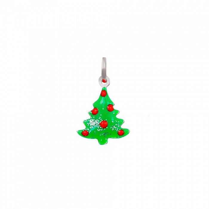 Серебряный подвес Новогодняя елочка с цветной эмалью 000081770