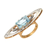 Золотое кольцо с аквамарином и бриллиантами Корделия