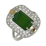 Серебряное кольцо с золотой вставкой, улекситом и цирконием Касабланка