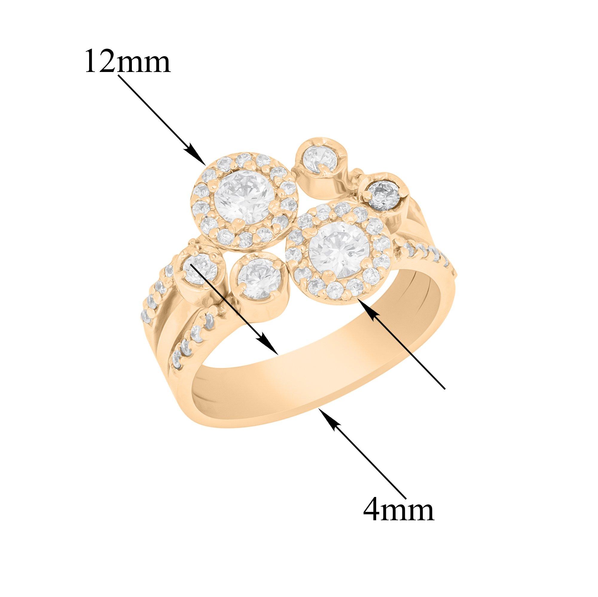 Золотое кольцо Феерический дуэт в красном цвете с фантазийной шинкой с фианитами