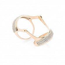 Золотое кольцо на две фаланги Присцилла с усыпкой фианитов