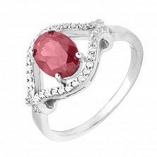 Серебряное кольцо Диана с гранатом и фианитами