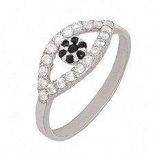 Серебряное кольцо на фалангу Глазки с фианитами