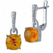 Серебряные серьги-подвески Наджия с янтарем и фианитами