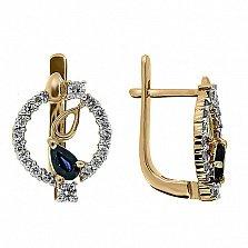 Золотые серьги Диана с сапфирами и бриллиантами