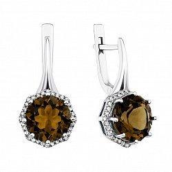 Серебряные серьги с раухтопазами и фианитами 000135059
