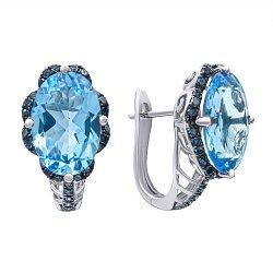 Золотые серьги в комбинированном цвете с голубыми топазами и синими бриллиантами 000139412