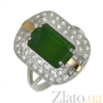 Серебряное кольцо с золотой вставкой, улекситом и цирконием Касабланка BGS--598к