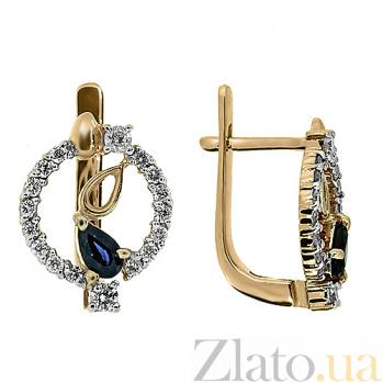 Золотые серьги Диана с сапфирами и бриллиантами ZMX--EDS-5597_K