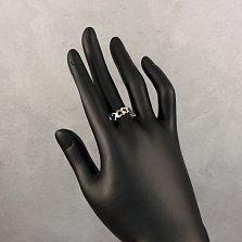 Серебряное кольцо Хоровод сердечек с ажурной шинкой и золотыми накладками