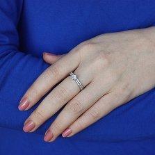 Серебряное двойное кольцо-трансформер Мелодия сердца с фианитами